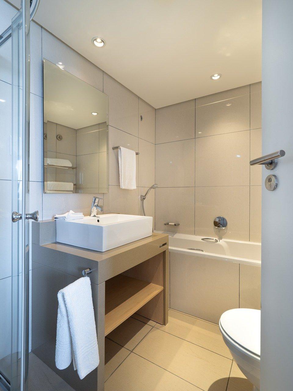 hotel bathroom, interior, sink